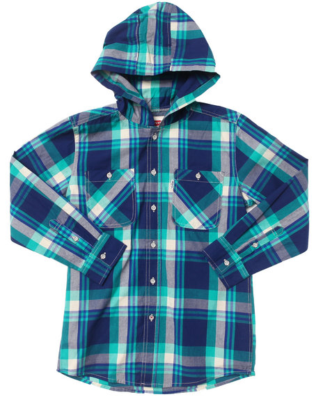 Levi's Boys Green Hooded Plaid Woven (8-20)