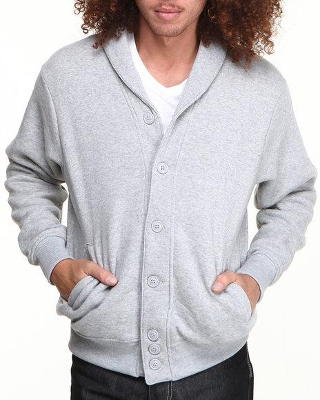 Buyers Picks - Men Charcoal Shawl Neck Fleece Cardigan