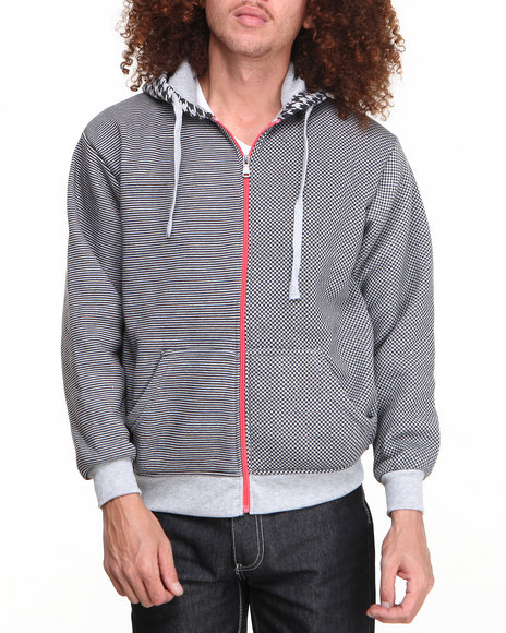 Buyers Picks - Men Grey Multi Check Full Zip Hoody (Contrast Hoody Detail)