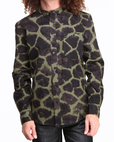 BLVCK SCVLE Olive Shah Giraffe Printed Oxford L/S Button-Down