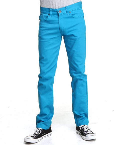 Basic Essentials - Men Teal Men's Skinny Stretch Denim Jeans