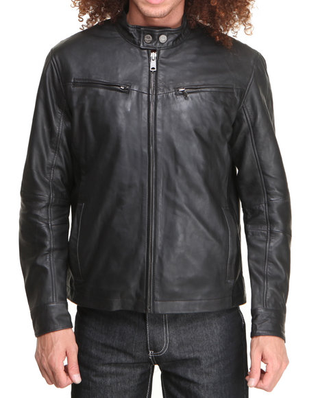 Members Only - Men Black Smooth Lamb Engineered Cafe Jacket