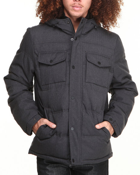 Levi's Charcoal Quilted Down Hooded Jacket