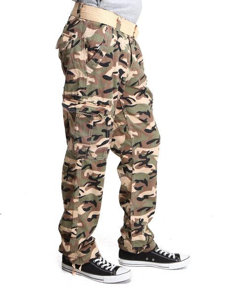 Basic Essentials Men Batallion Camo Cargo Pants Khaki 36x32