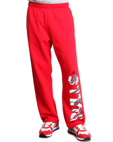 Adidas Red Chicago Bulls Vertical Cut Fleece Sweatpants