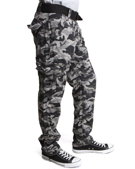 Basic Essentials Men Batallion Camo Cargo Pants Black 36x34