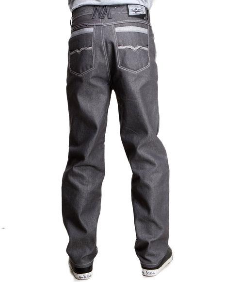 Mo7 Men Cut amp Sewn Pocket Straight Fit Denim Jeans Grey 36x32