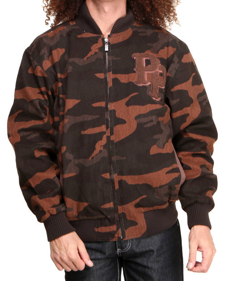 Pelle Pelle - Men Brown Espresso Camo Chenille Pelle Pelle Jacket