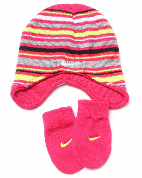 Nike Girls Striped Beanie & Mittens Set (12-24 Mos) Pink