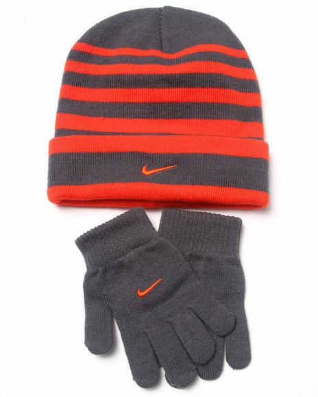 Nike Boys Striped Beanie & Gloves Set Grey