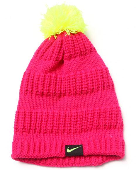 Nike Girls Hi-Lo Pom Beanie Pink