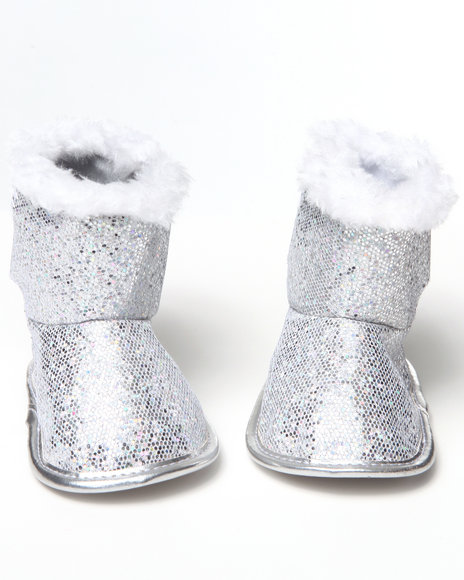 La Galleria Girls Silver Glitter Bootie (Newborn)