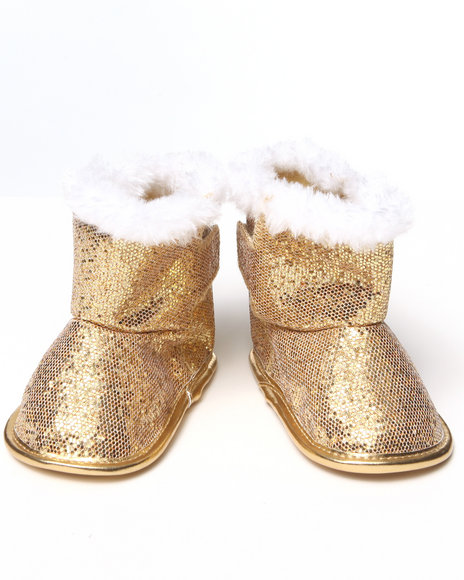 La Galleria Girls Gold Glitter Bootie (Newborn)