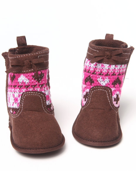 La Galleria Girls Brown Aztec Print Bootie (Newborn)