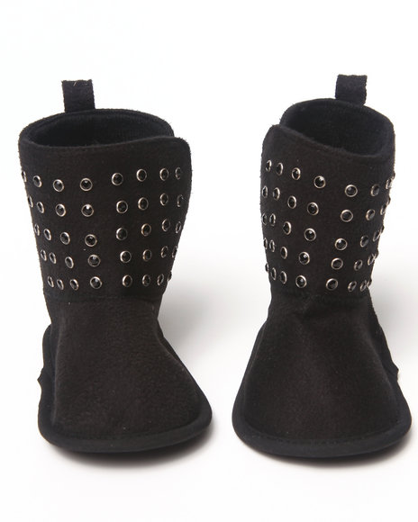 La Galleria Girls Black Studded Bootie (Newborn)