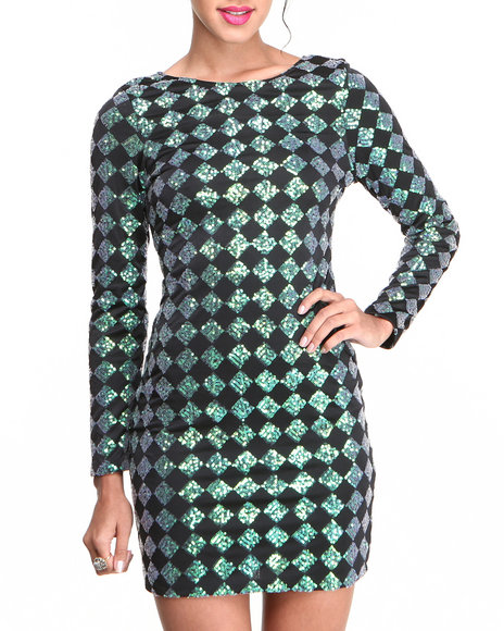 Motel - Women Green Gabby Diamond Sequin Dress