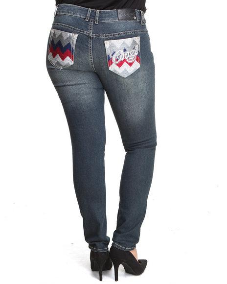 Coogi - Women Medium Wash Zig Zag Back Pocket Jean (Plus)