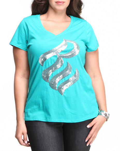 Rocawear Teal S/S V-Neck Bling Sequin Logo Tee (Plus Size)