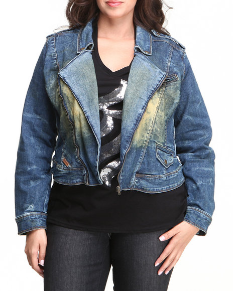 Rocawear Women Medium Wash Desert Moto Hot Denim Jacket