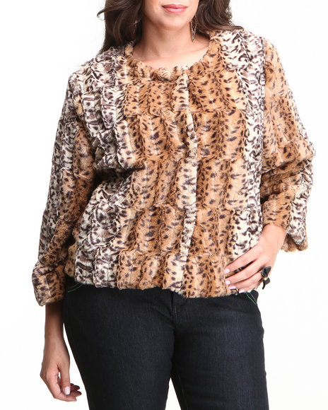 Fashion Lab - Women Animal Print,Brown Faux Fur Jacket (Plus)