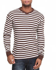 Basic Essentials - Heathered Striped Vneck Thermal