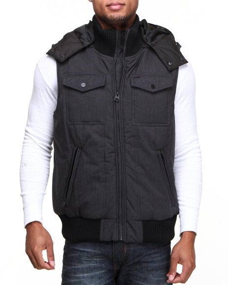 Levi's - Men Charcoal Herrinbone Puffer Hooded Vest