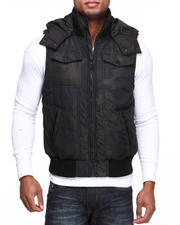 Men - Herrinbone Puffer Hooded Vest