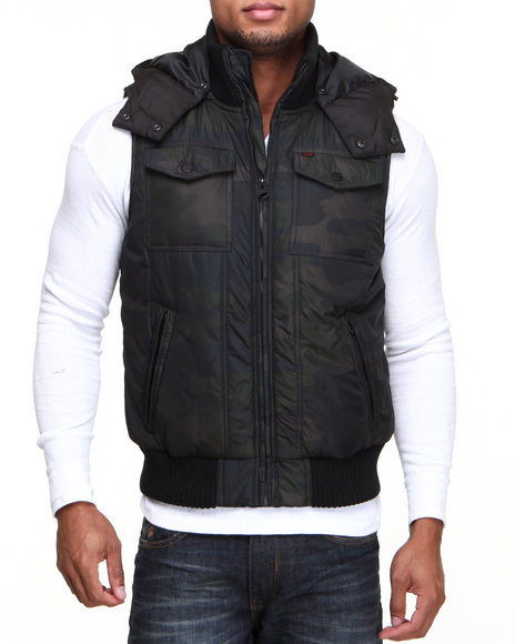 Levi's - Men Camo,Camo Herrinbone Puffer Hooded Vest