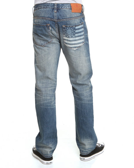 Crooks & Castles Light Wash Bravehart Ratchet Fit Denim Jeans