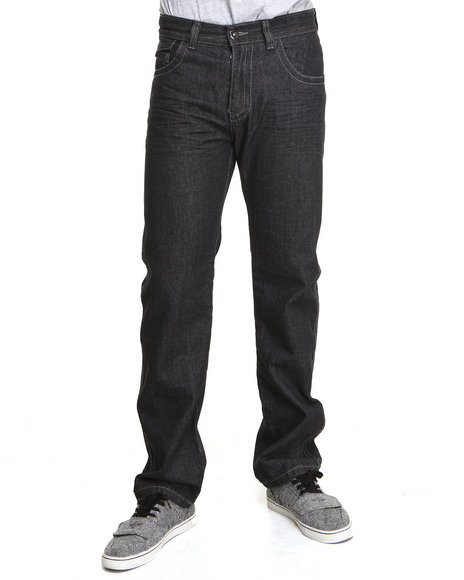 Mo7 - Men Black Pu Studdded Back Pocket Detail Denim Jeans