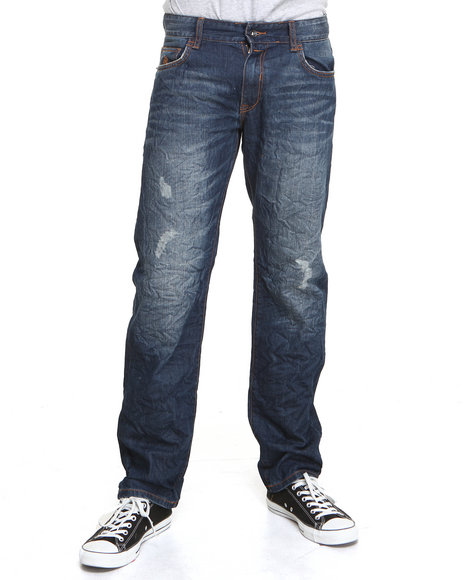 Rocawear - Men Medium Wash Volume Straight Fit Jeans