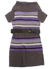 Girls - COWL NECK STRIPED SWEATER DRESS (7-16)