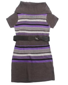 La Galleria - COWL NECK STRIPED SWEATER DRESS (7-16)