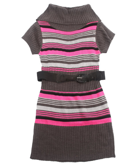 La Galleria Girls Pink Cowl Neck Striped Sweater Dress (7-16)