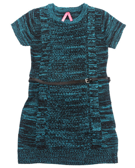 La Galleria Girls Teal Tweed Sweater Dress (7-16)