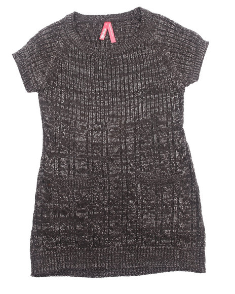 La Galleria Girls Black Cable Knit Sweater Dress (4-6X)