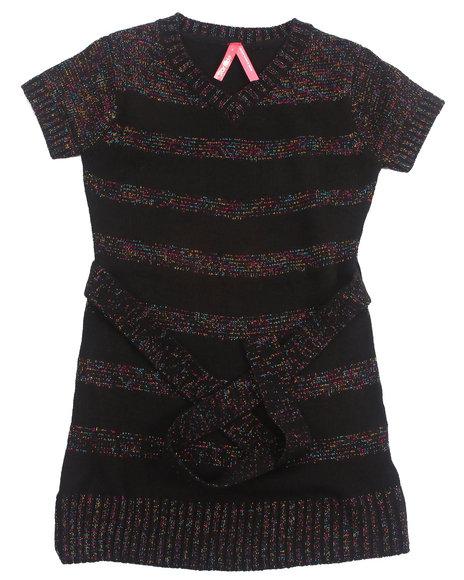 La Galleria - Girls Black Lurex Stripe Dress (4-6X)