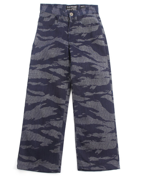 Arcade Styles - Boys Dark Wash Tiger Camo Jeans (8-20)