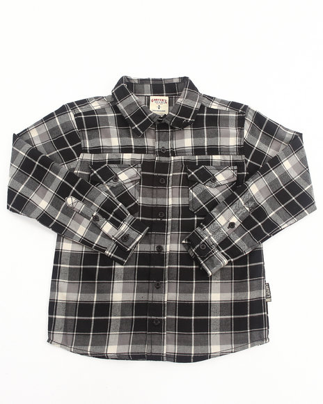 Arcade Styles - Boys Black Plaid Flannel Shirt (8-20)