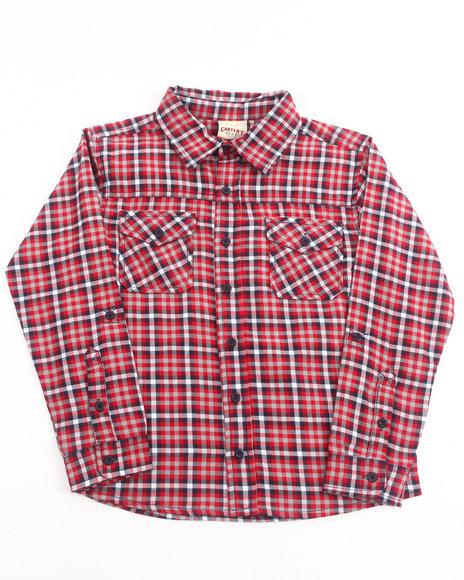 Arcade Styles - Boys Red Plaid Flannel Shirt (8-20)