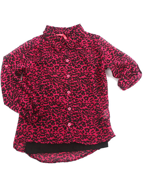 La Galleria Girls Pink Animal Print Chiffon Top W/ Cami (4-6X)