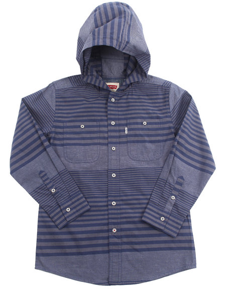 Levi's Boys Navy Hooded Striped Woven (8-20)
