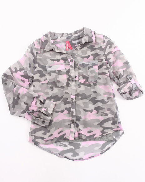 La Galleria Girls Camo,Grey Camo Chiffon Top W/ Cami (7-16)