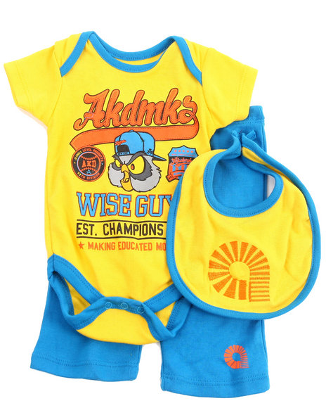 Akademiks - Boys Yellow 3 Pc Set - Wise Guys Creeper, Pants, & Bib (Newborn) - $17.99