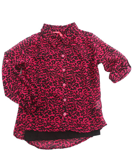 La Galleria Girls Pink Animal Print Chiffon Top W/ Cami (7-16)