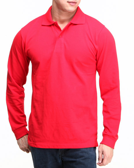 Basic Essentials - Men Red Long Sleeve Pique Polo