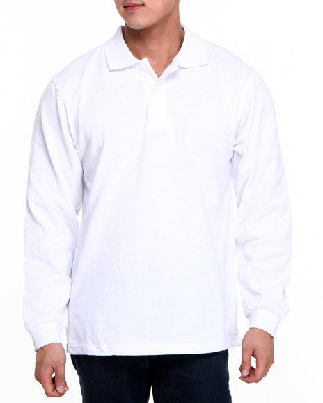 Basic Essentials White Long Sleeve Pique Polo