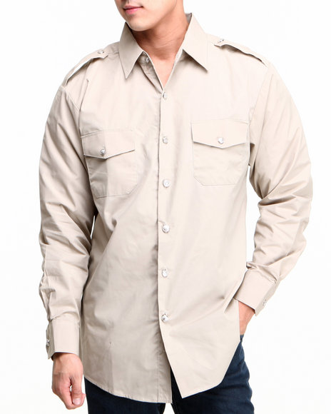 Basic Essentials - Men Khaki Military Woven Long Sleeve Shirt