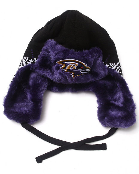 New Era Men Baltimore Ravens Snowflake Trapper Knit Hat Multi