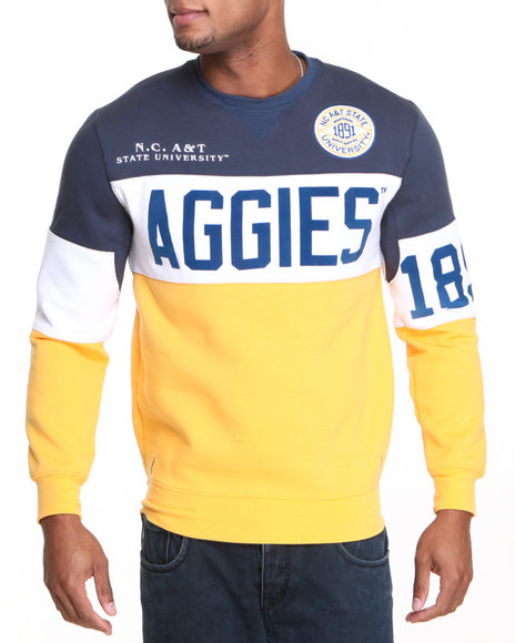 - Yellow N. Carolina A&T State Fleece Crew Neck Sweater